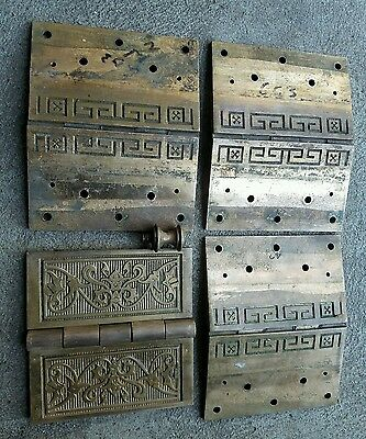 Antique Victorian Brass Door Hinges Ornate Vintage Used Hardware LOT of 4