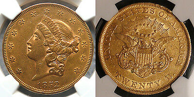 1852 $20 Gold Coin NGC AU50 - sweet early Type 1 (one) Double Eagle