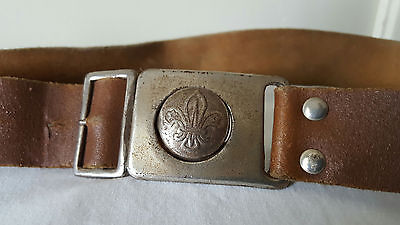 Vintage Boy Scouts of America Leather Belt With Metal Logo Hooking Clasp