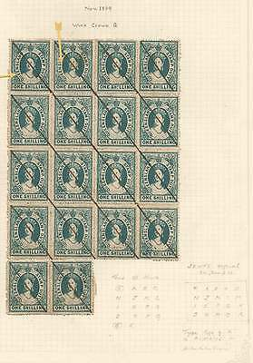 QUEENSLAND 1866-68 POSTAL FISCAL Crown/Q 1/- Green BLOCK of 16+2 Official stroke