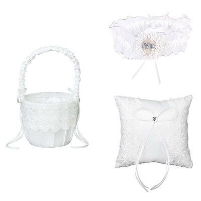 Wedding Ring Pillow Cushion Wedding Ring care flower basket and Garters Set T5S3