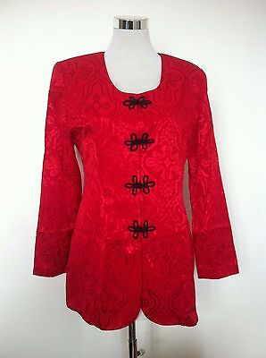 Vintage Womens Jessica Howard Red Paisley Pattern Evening Blazer Jacket /Size 10