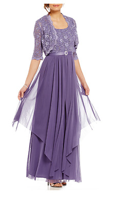 Women's Formal Jacket Dresses 14W fits Sizes 14-16 Mother of Bride Purple Gowns