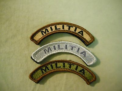 """Militia"" Rocker/Tab Patches in Coyote/Tan, BDU Woodland, ACU Grey Hook/Loop"