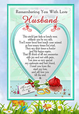 Husband Large In Memory  Memorial Bereavement Graveside Keepsake Card &  Holder