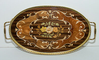 Vintage Italian Inlaid Wooden Serving Tray With Brass Trim And Handles~Gorgeous!