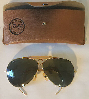Vintage Bausch & Lomb Ray Ban Aviator Shooters Glasses With Case  (USED)