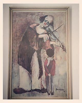 ✿Retro Vintage Kitsch 1960's Clown Picture by Diaz Framed✿
