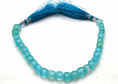 NATURAL GEM SKY BLUE Chalcedony Faceted 3D Cube Briolettes Beads 6 TO 7 MM  8""