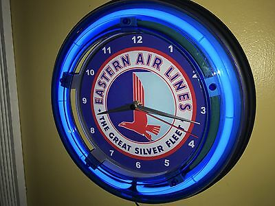 Eastern Airlines Airport Terminal Pilot Stewardess Man Cave Neon Wall Clock Sign