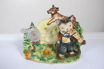 Vintage Lefton Esd Japan Hey Diddle Diddle The Cat & The Fiddle  Figurine