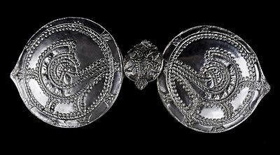 Bulgarian Silver Clasp Belt Buckle National Dress Ethno Garment Folk Costume VTG