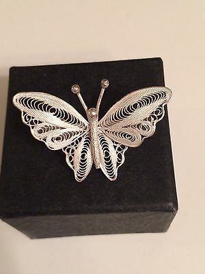 925 Silver Filigree Butterfly Brooch