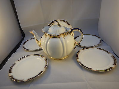 Antique George Jones & sons Crescent tea service Blue Cobalt & gold