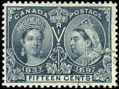Canada #58 used 1897 Queen Victoria 15c steel blue Diamond Jubilee Issue CV $185