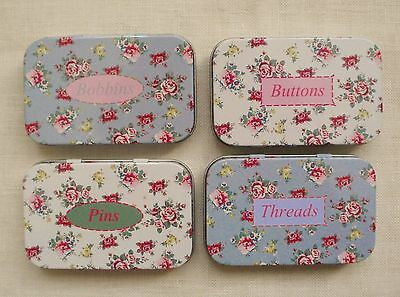 sewing tins.vintage style.sewing notion tins.VERY pretty set of FOUR empty tins.