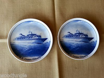 2 Vintage ROYAL CRUISE LINE M.S. ROYAL ODYSSEY PLATE dish plates coasters