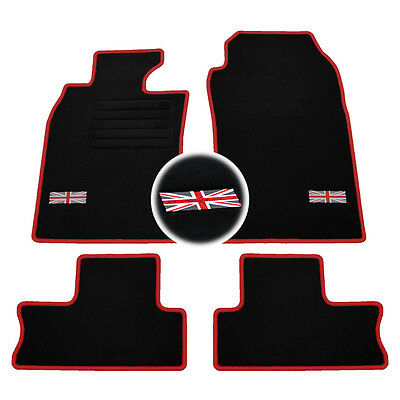 4 Tapis Sol Mini 2001-2006 R50 R53 Moquette Logo Rouge Flag Uk Specifique
