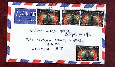 AUSTRALIA STAMPS-Electronic mail service 33c , airmail cover to UK, 1987