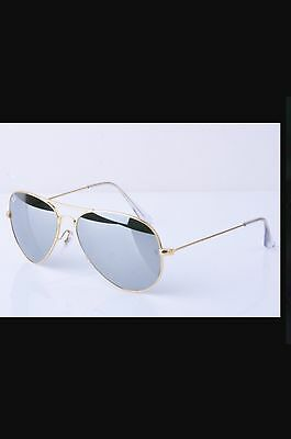 Ray Ban RB3025 Authentic- Unisex Sunglasses GOLD Frame/ Mirror Lens ...LAST ONE