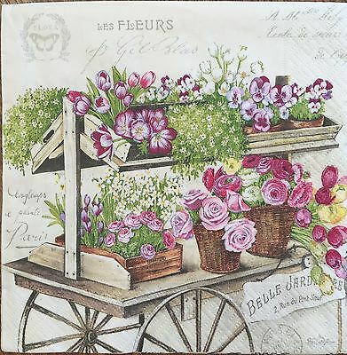 20 paper napkins decoupage crafts collection Flower Rose Flowers in Basket #2550