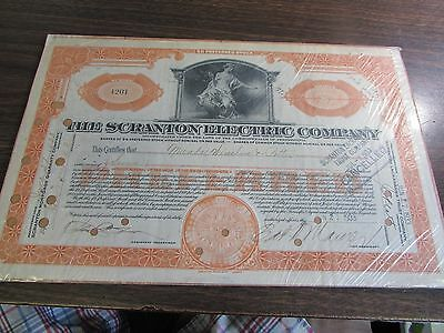 The Scranton Electric Company - Scranton Pa - Cancelled Stock Certificate 1933