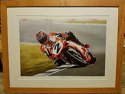 Carl Fogarty large framed print. Art by Rod Organ. Limited Edition.