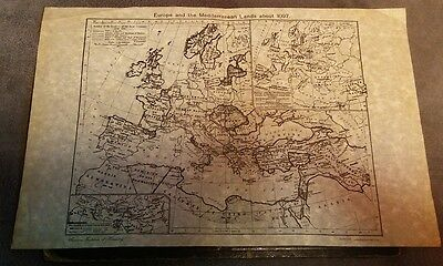 A Vintage Map of Europe and the Mediteranian Landas from 1097