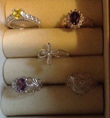 Sterling Sliver Ring Lot 5 Rings Not Scrap