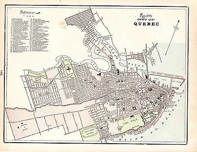 Map City Plan of Quebec George Cram 1900 Canada St. Lawrence River