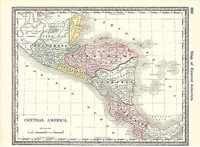 Map of Central America 1885