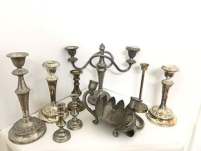 Antique Candle  Holders x 9 Pieces