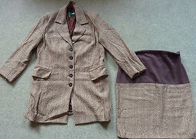 FORMES - Maternity Skirt Suit - Size 10 - cost £265 - Brown & Cream