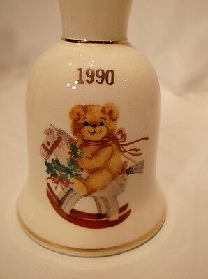 Vtg 1990 Christmas Bell with Clapper Rocking Horse & Teddy Bear 24k Gold Accents