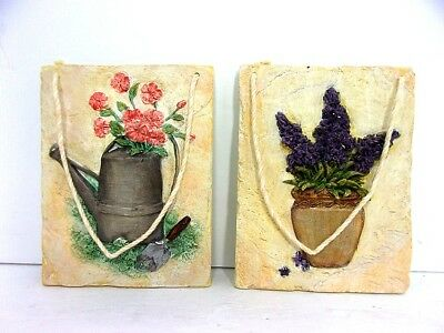 Vintage Pair French Country Garden Freeze Plaques Flowers In Nature China Resin