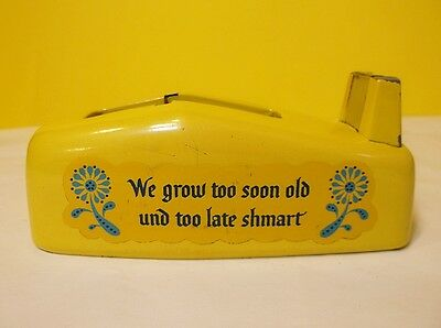 1960-1970s Vintage YELLOW Scotch Desk Tape Dispenser We Grow Too Soon Old USA