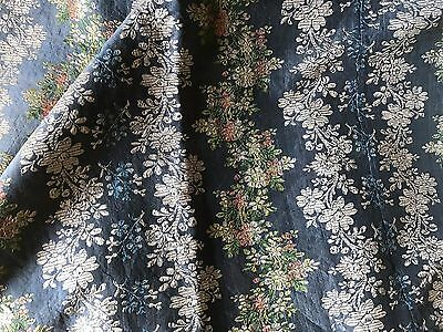 ANTIQUE FRENCH SILK PANEL - GREY BLUE - GARLANDS OF FLOWERS - 18th