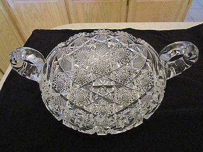 Antique Large Amazing Two Handles Cut Glass Crystal Dish