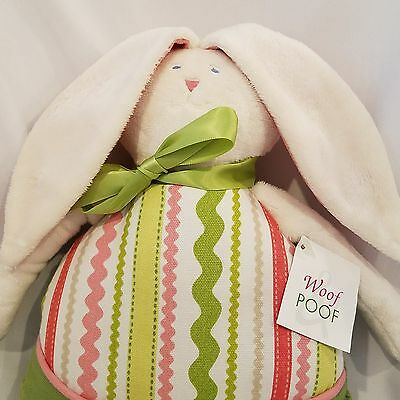 Woof & Poof Bunny Rabbit Easter Doll Pillow White Green Pink Plush