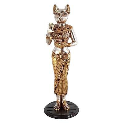 Traditional Egyptian Cat Goddess Bastet Hand Painted Home Statue With Royal Ankh