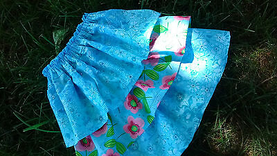 Handmade Twirl Cute Layer Summer Skirt Girls Blue Pink 2T 3T 4T Boutique NWT