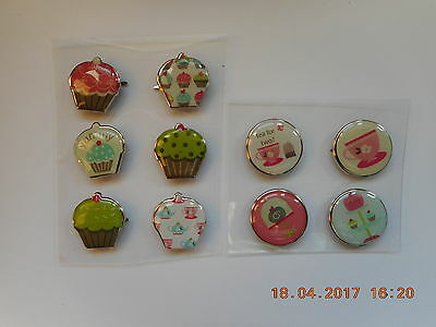 Tea Cakes Tea for two Decorative Craft Paper Fasteners for Card Making Scrapping