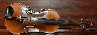 Vintage 4/4 violin and Tourte 925 French bow in coffin case