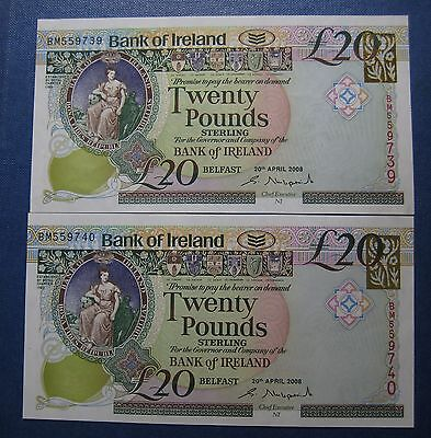 UNC Consecutive Bank of Ireland £20 notes April 2008