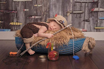Hand Crochet Newborn Baby Fishing Photo Prop Set Overalls Fish Brown