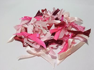 50 Mixed Pinks Bows Satin Ribbon Trim Card Making Scrapbooking Home Decor