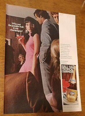1969 Bali Hai Tropical Champagne passion fruit Original Print Ad lady pink dress