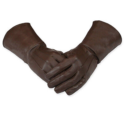 Men's Medieval Renaissance Gauntlet Brown leather Gloves Long Arm Cuff