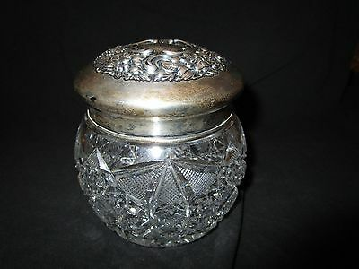 Beautiful Antique Cut Glass Container With Monogrammed Sterling Silver Lid