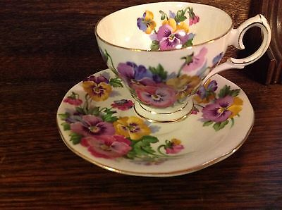 Queen Anne Spring Melody Pansey Flowers fine bone China Cup & Saucer England